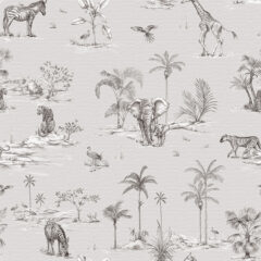 Safari African Grey Curtain Fabric