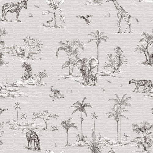 Safari Africa Grey fabric